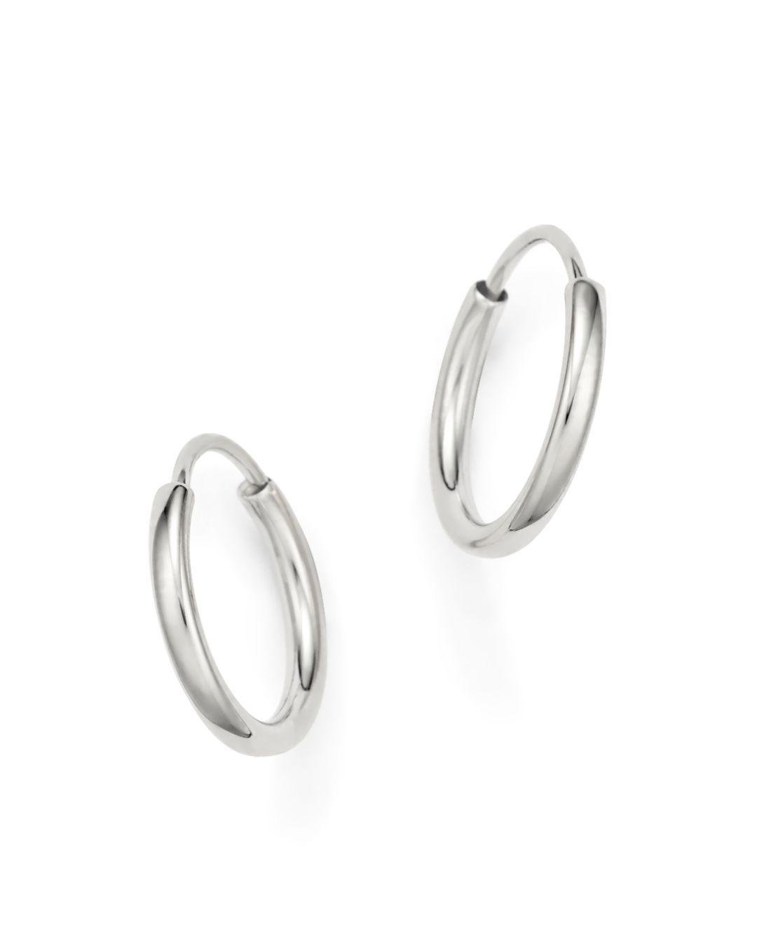 Bloomingdale S 14k White Gold Small Endless Hoop Earrings Lyst View Fullscreen