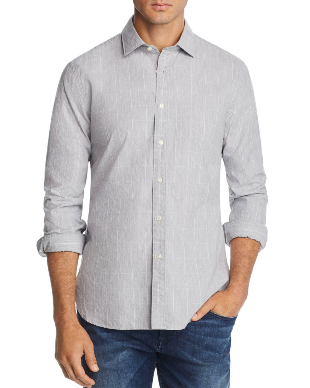 Bloomingdales Grid Print Broadcloth Slim Fit Shirt In Blue For Men