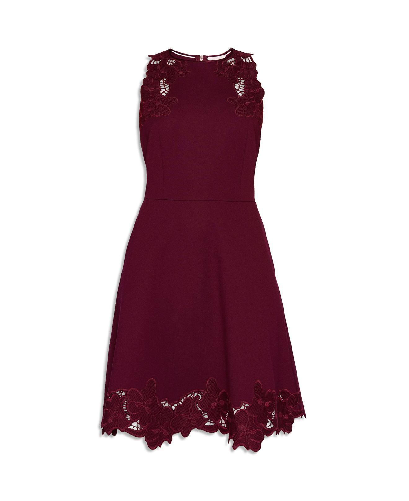 b01448e04e Lyst - Ted Baker Emmona Embroidered Skater Dress in Purple