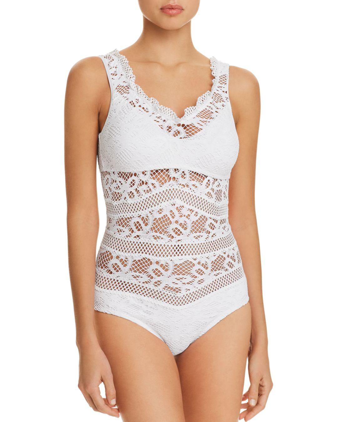 676421c858e Becca Captured Crochet One Piece Swimsuit in White - Lyst