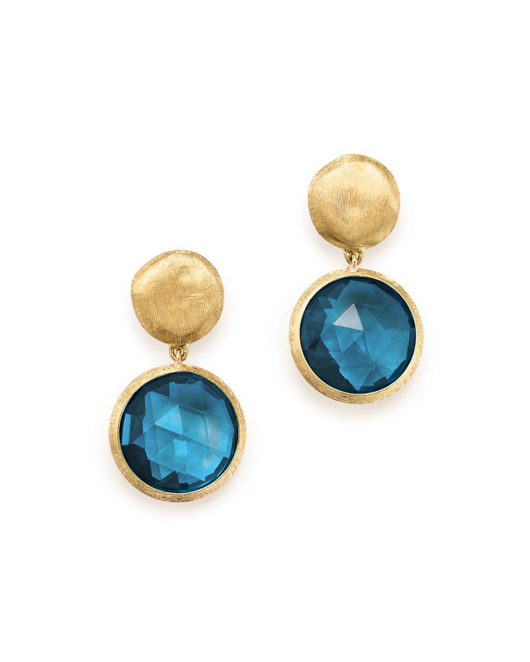 2ee550f1541b Marco Bicego. Women s 18k Yellow Gold Jaipur London Blue Topaz Double Drop  Earrings