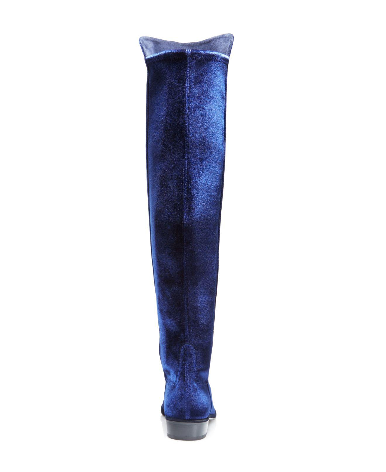 c09a5368f17 Lyst - Stuart Weitzman Allgood Velvet Over-the-knee Boots in Blue