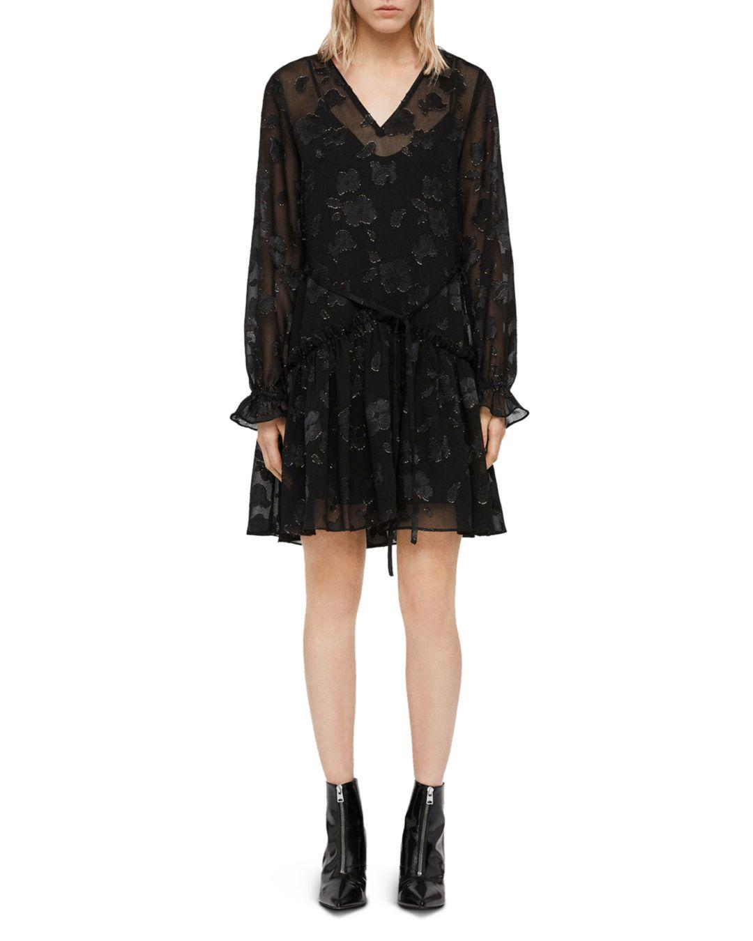 3a082173a AllSaints Alia Floral Drawstring Dress in Black - Save 56% - Lyst