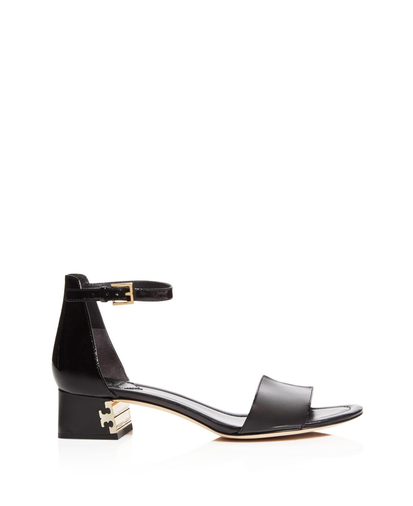 4335ec137fd0 Lyst - Tory Burch Finley Patent Leather Logo Block Heel Sandals in Black