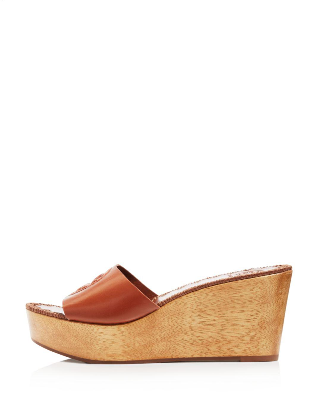 1f438630195ba Lyst - Tory Burch Women's Patty Leather Platform Wedge Slide Sandals