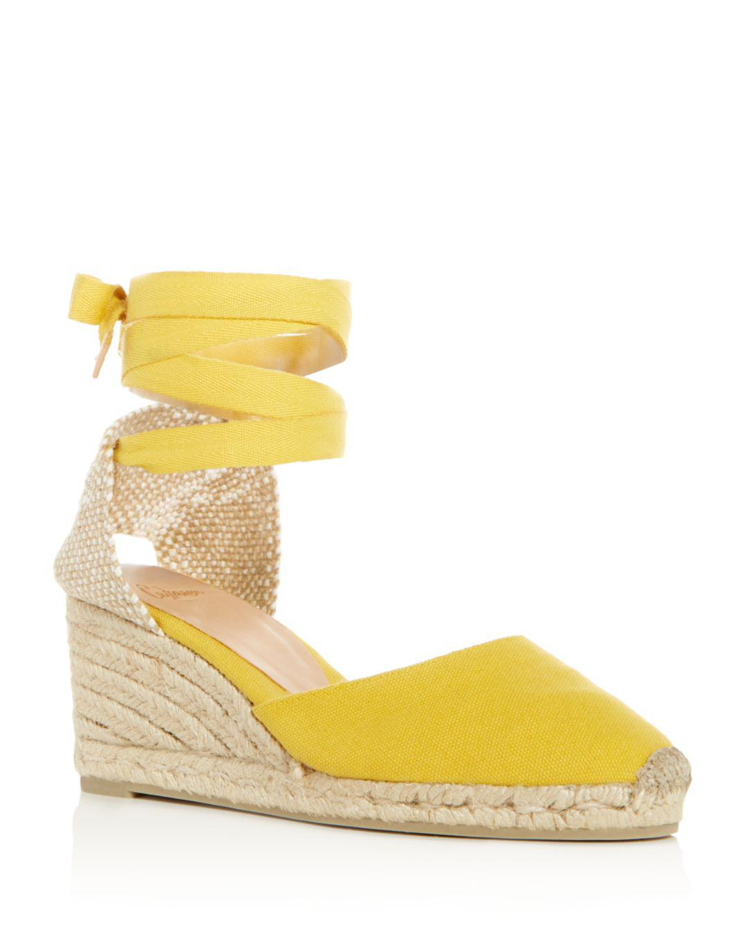 d311a89674d6 Castaner Women's Carina Ankle Tie Espadrille Wedge Sandals in Yellow ...