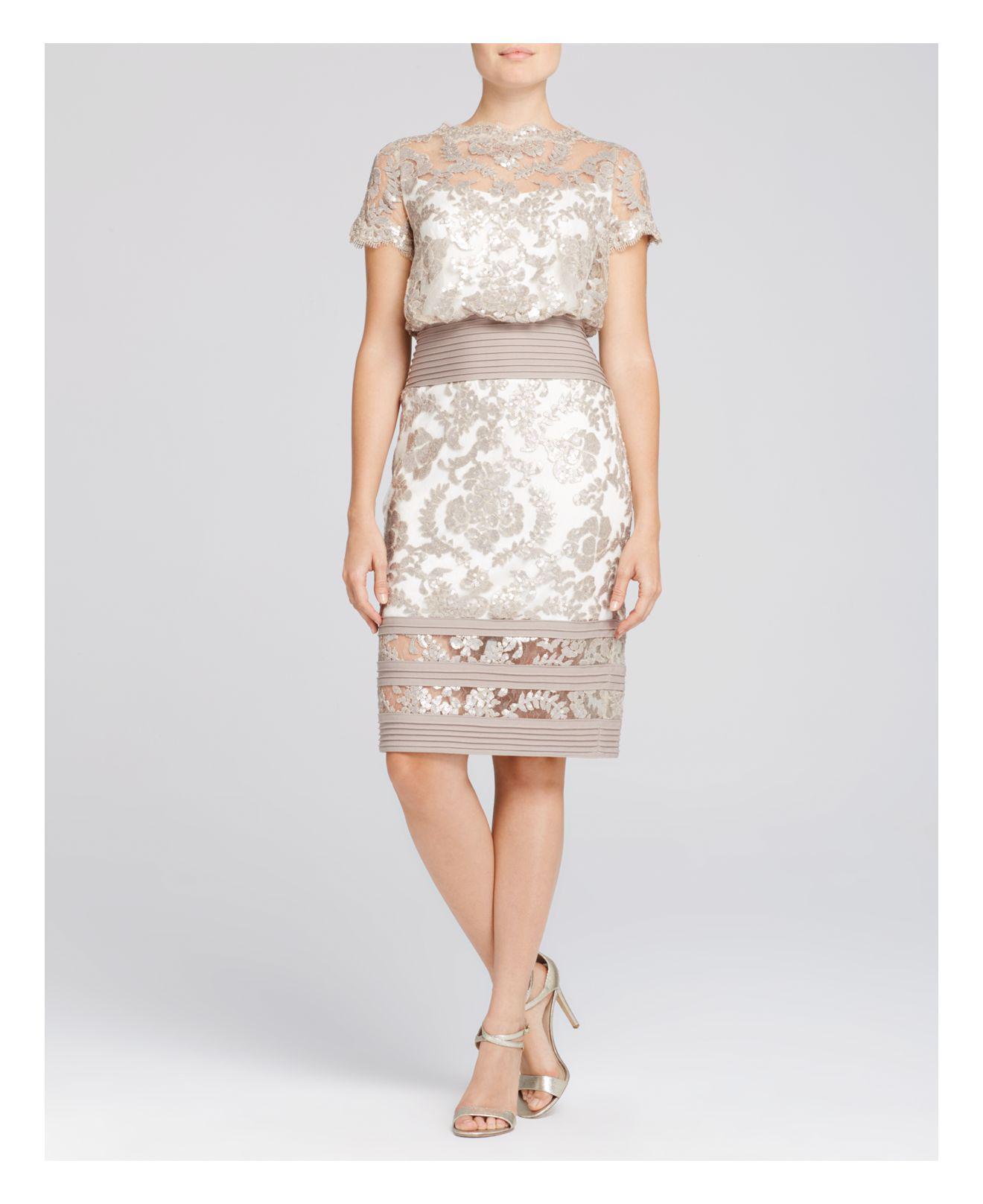 17810c926978 Lyst - Tadashi Shoji Petites Sequin Blouson Dress in White