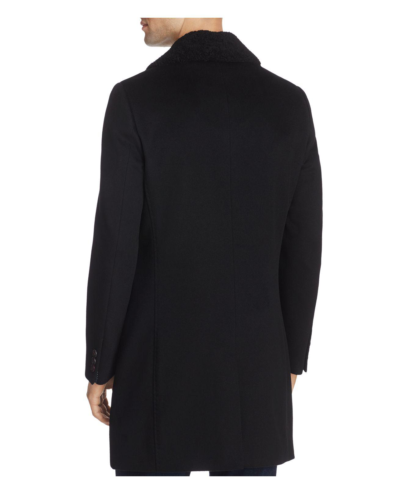 Ted Baker Nolan Endurance Shearling Coat In Black For Men