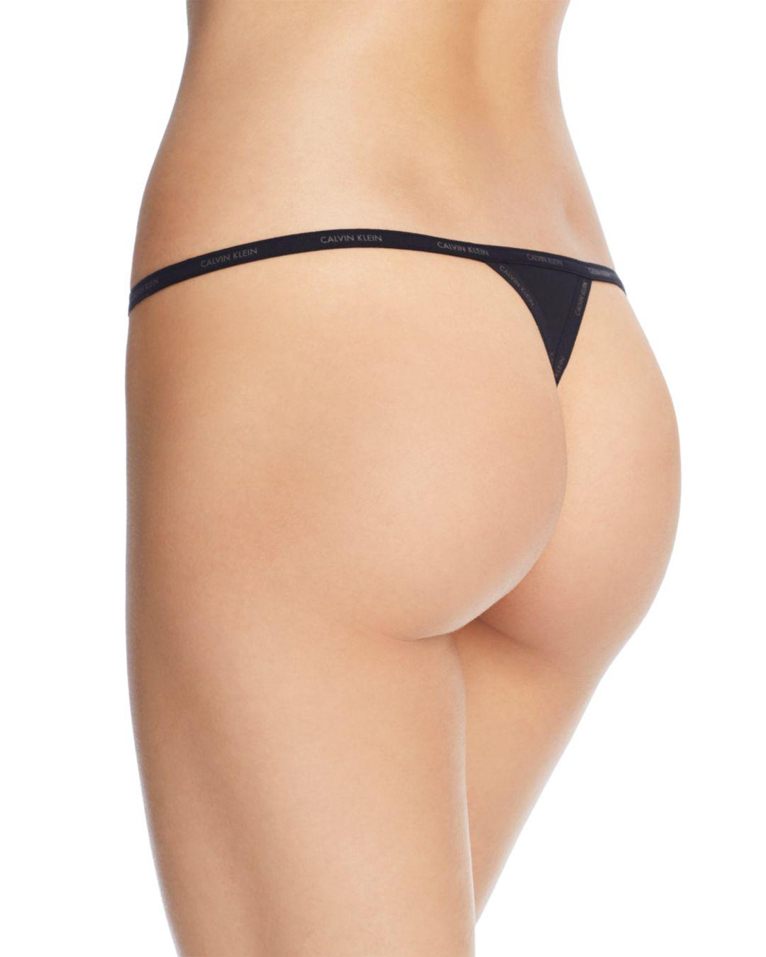 1bf5418f7d26 Calvin Klein Sheer Marquisette String Thong in Black - Lyst
