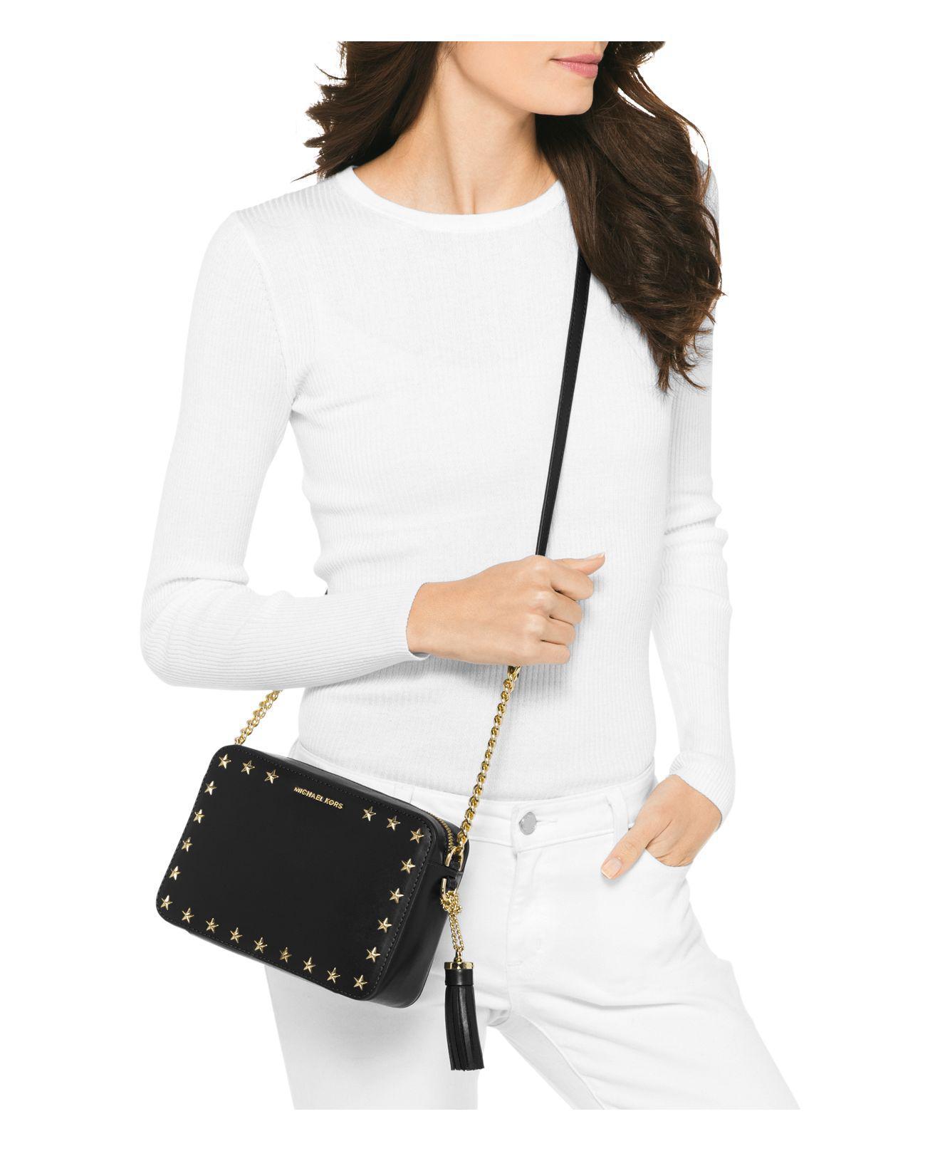 449744df5711 Lyst - MICHAEL Michael Kors Ginny Star Stud Medium Leather Camera Bag