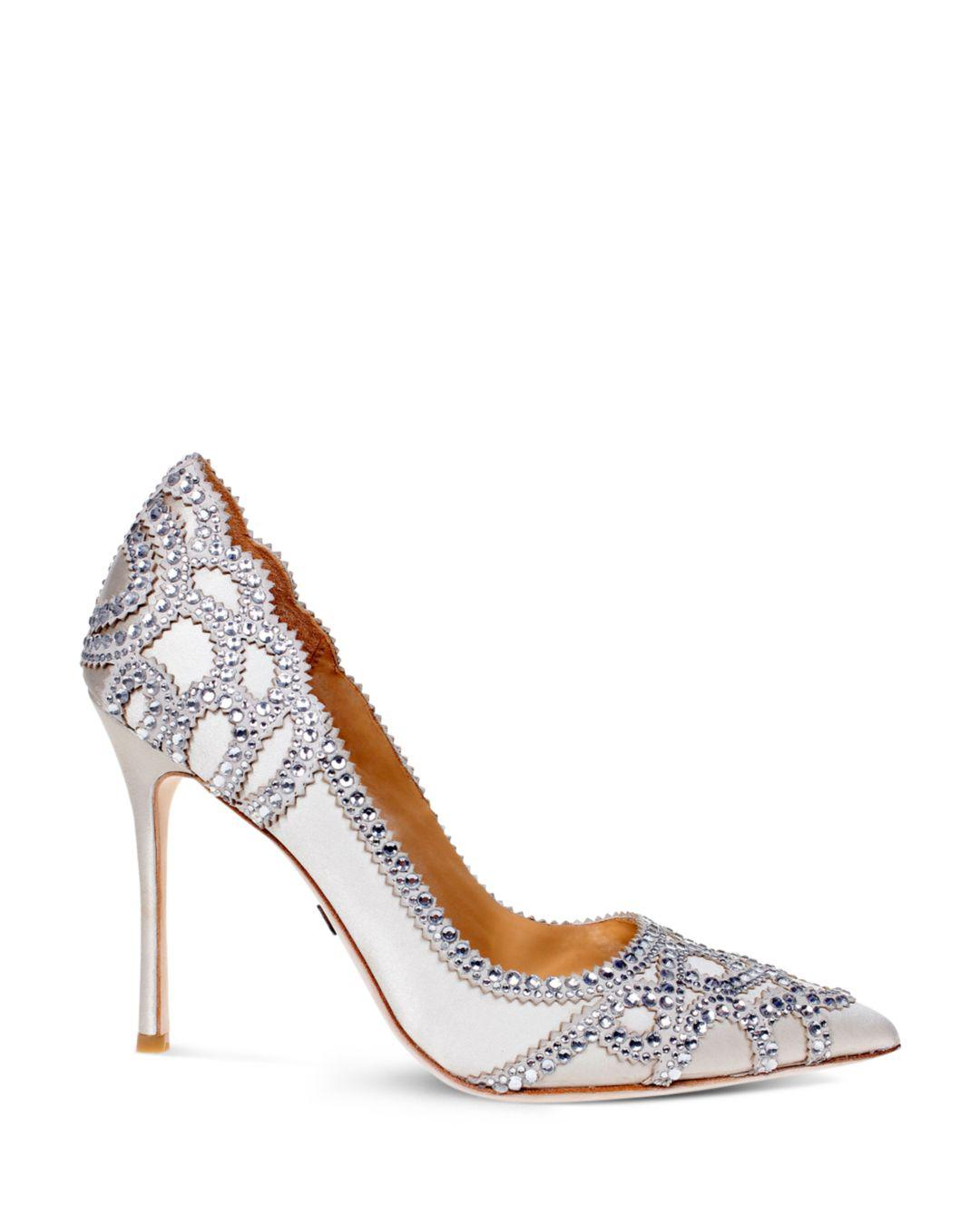 90de063a1ca Lyst - Badgley Mischka Rouge Embellished Pointed Toe Pumps in White
