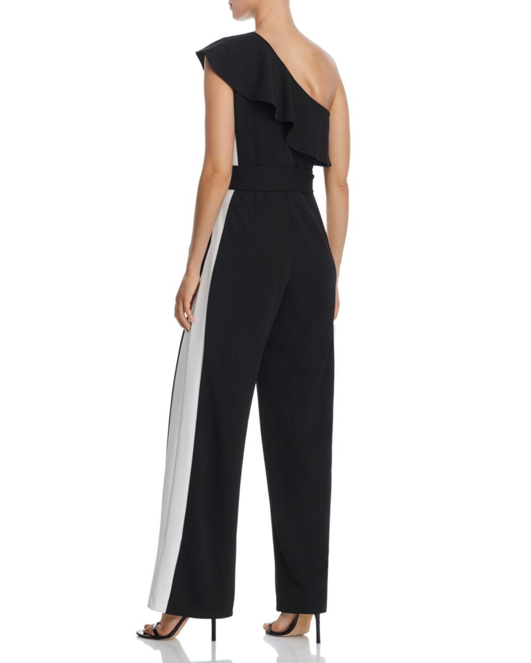 290e952683d Lyst - Adrianna Papell One-shoulder Jumpsuit in Black