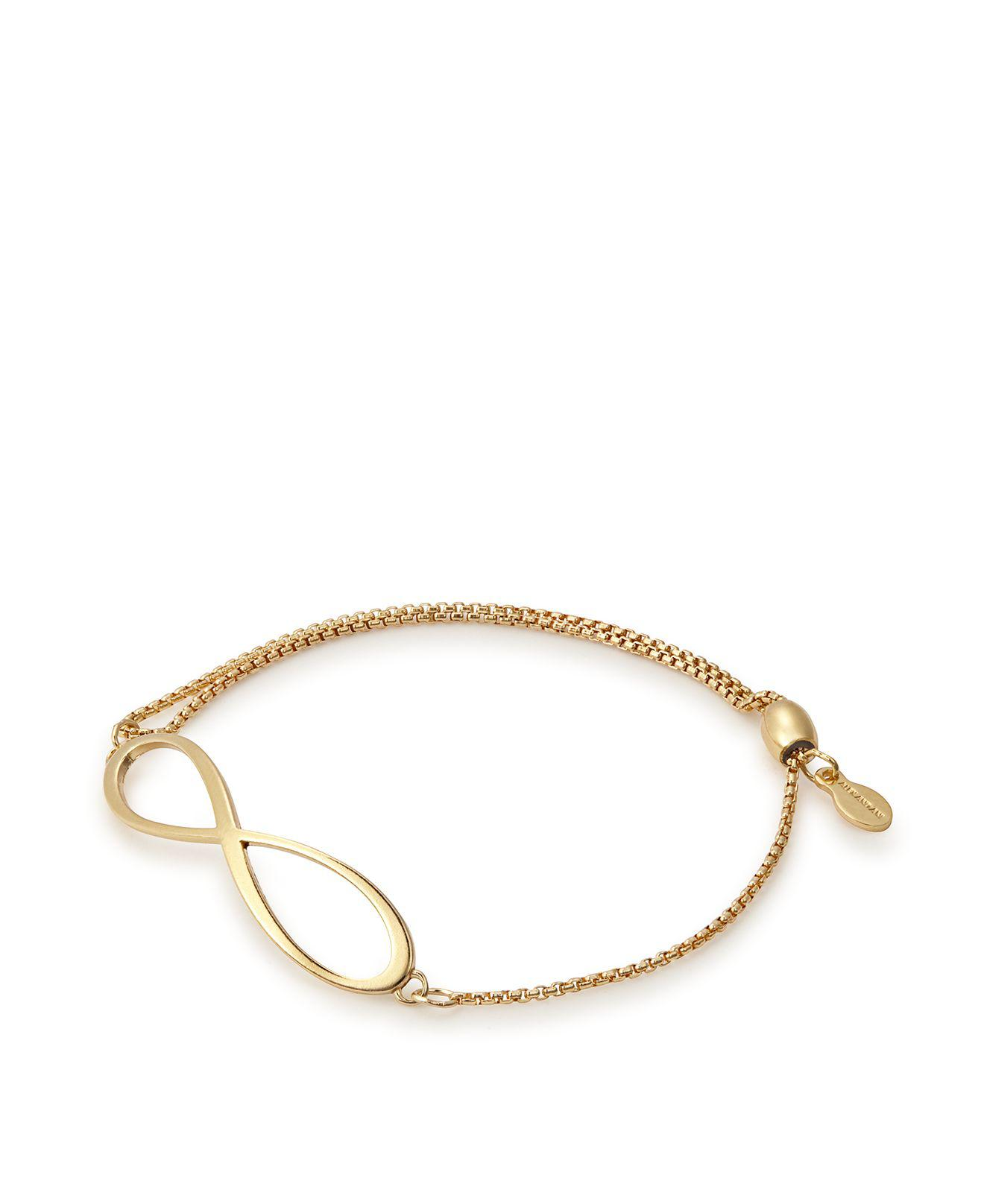 gold metallic and plated bracelet jewelry ani lyst infinity alex in chain pull