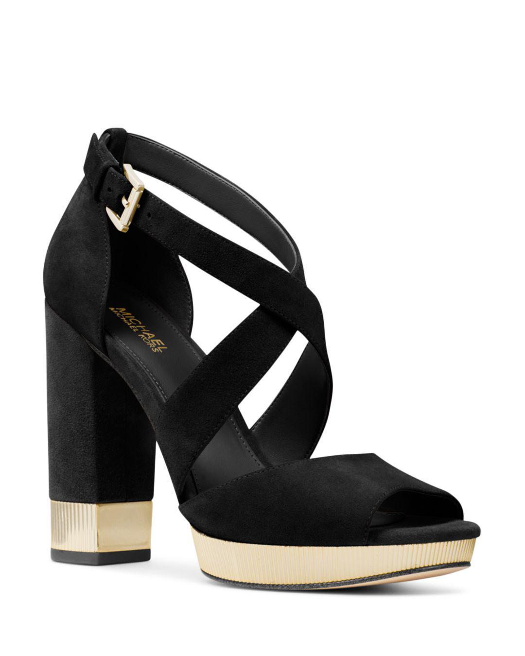 e499e9ce8f21 Lyst - Michael Kors Valerie Suede Platform Sandal in Black - Save 14%