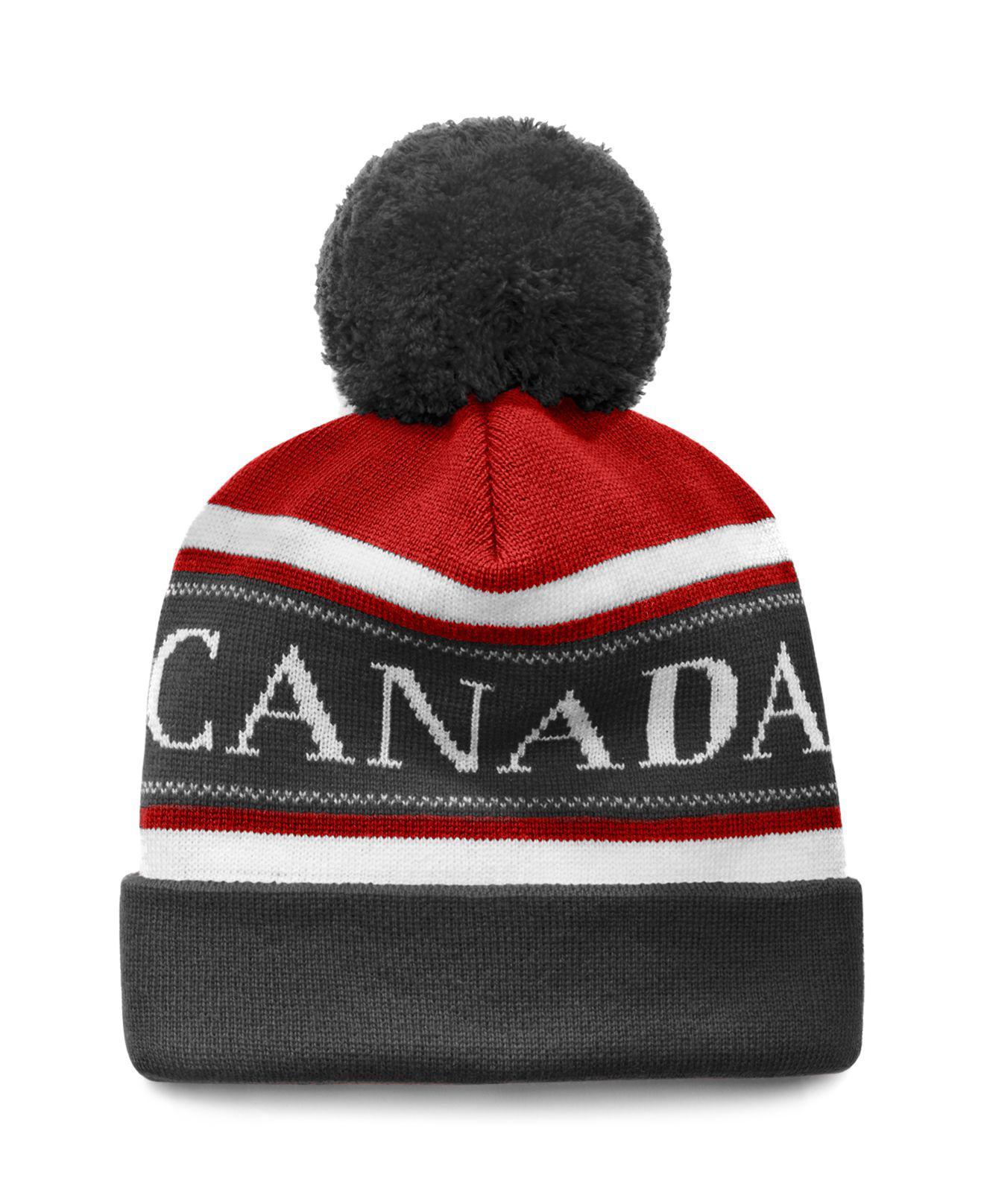 c70dc515 Lyst - Canada Goose Merino Logo Pom Hat in Red for Men