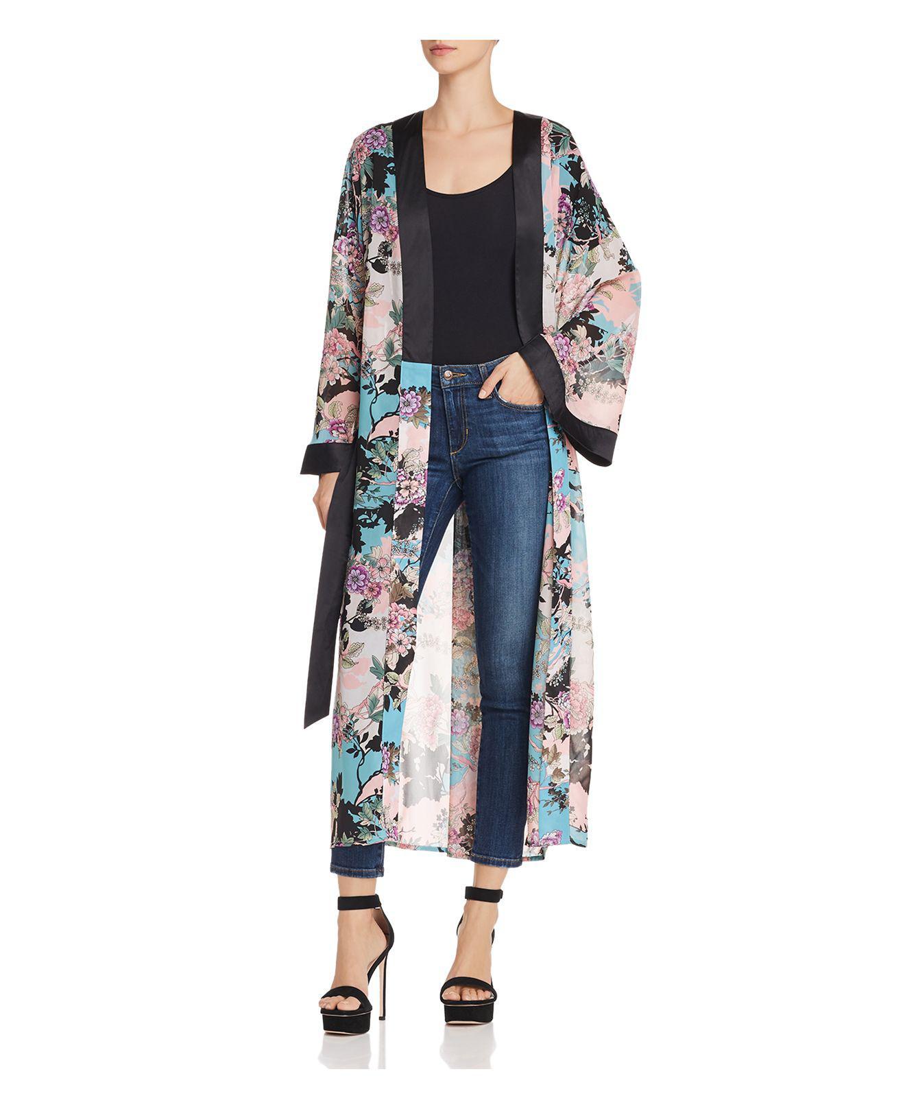 Guess. Women's Blue Maribel Floral Print Kimono