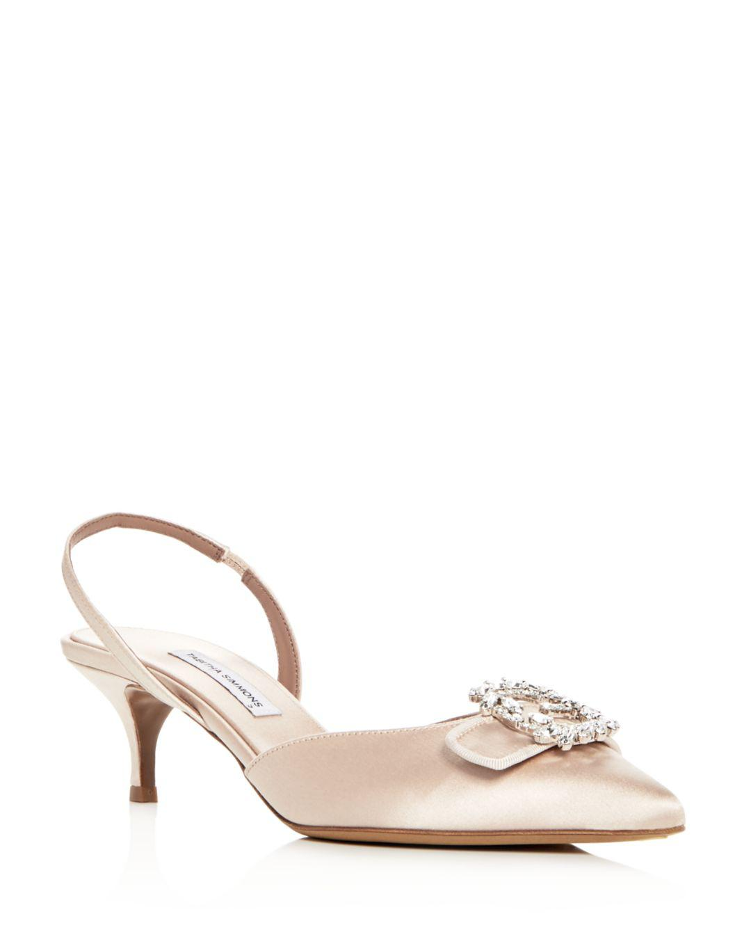 e1a66623541 Tabitha Simmons. Pink Women s Bells Embellished Satin Slingback Kitten Heel  Court Shoes