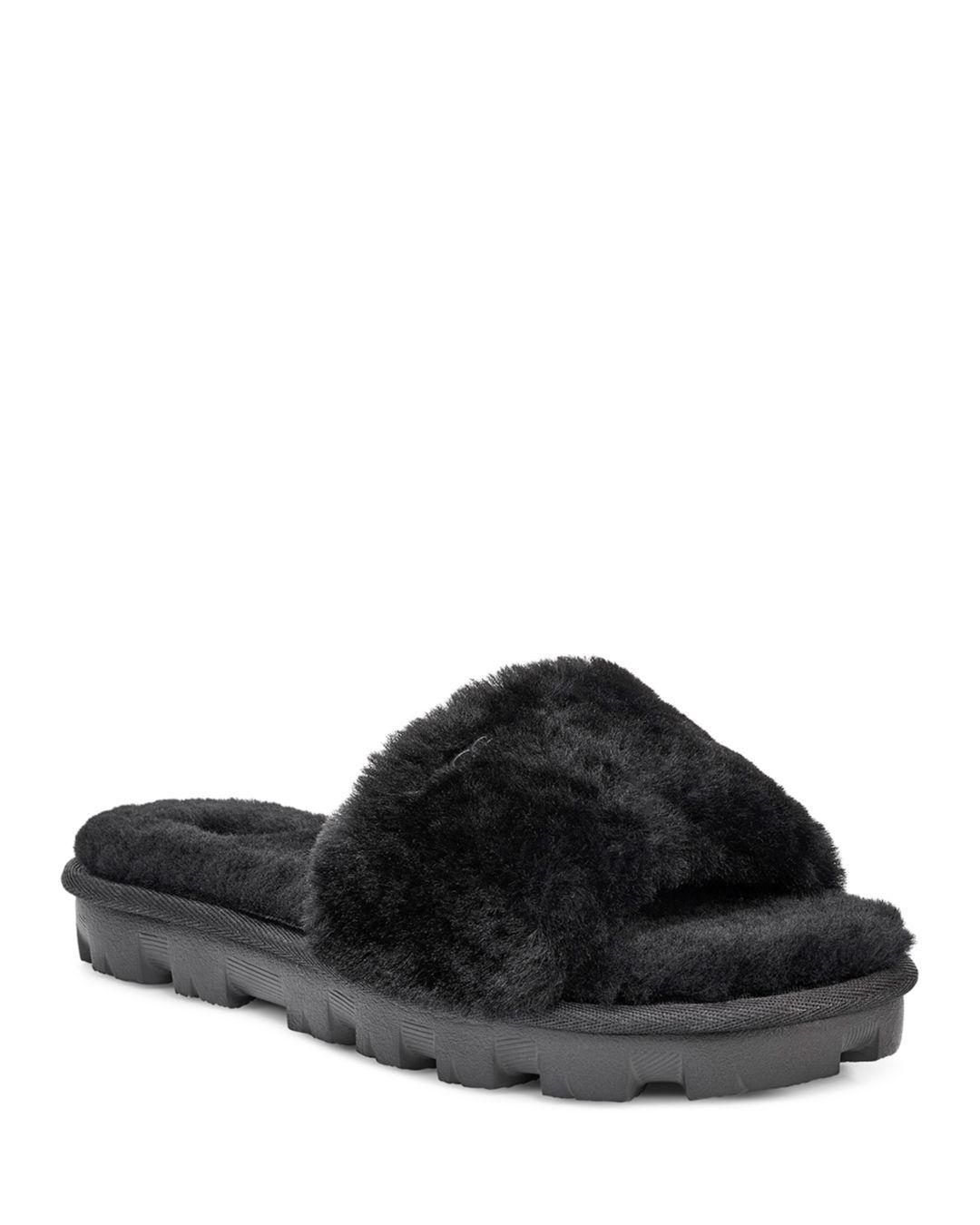 7f17a594c003 Lyst - Ugg Women s Cozette Fur Slide Sandals in Black
