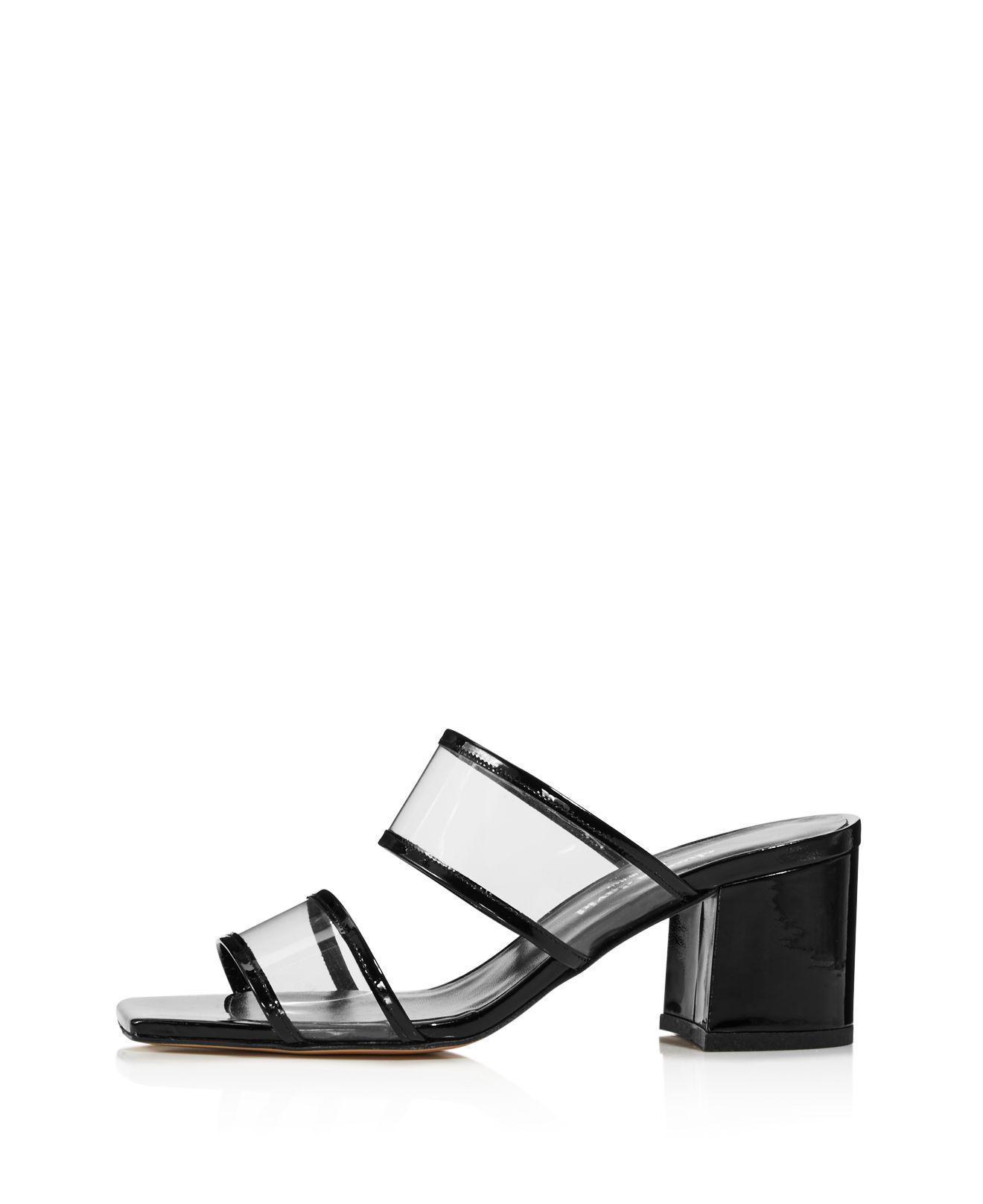 Charles David Women's Cally Leather Illusion Block Heel Slide Sandals fKJJf7sh4E