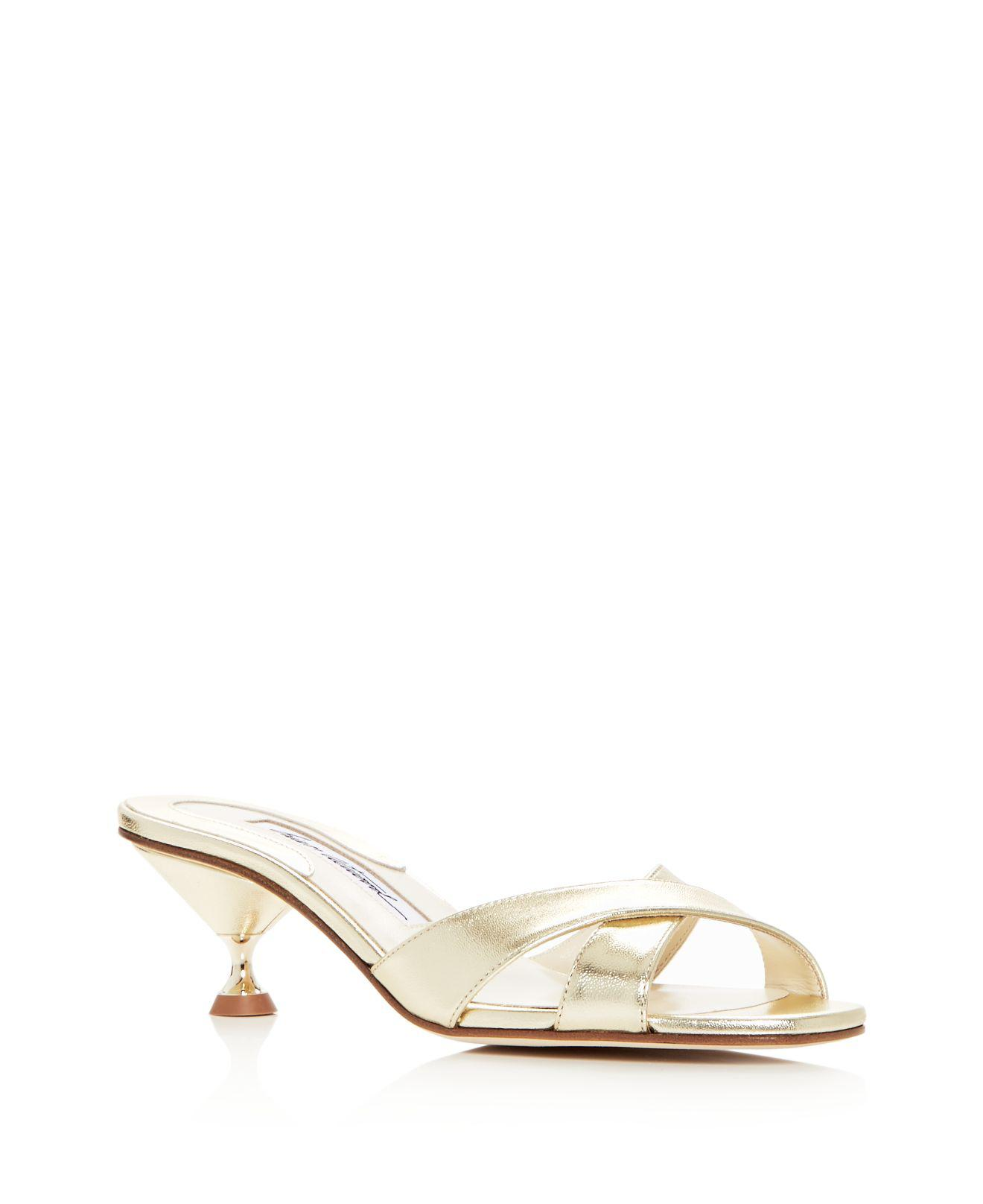 BRIAN ATWOOD Women's Cinzia Patent Leather Kitten Heel Slide Sandals SvLWrHOlGV