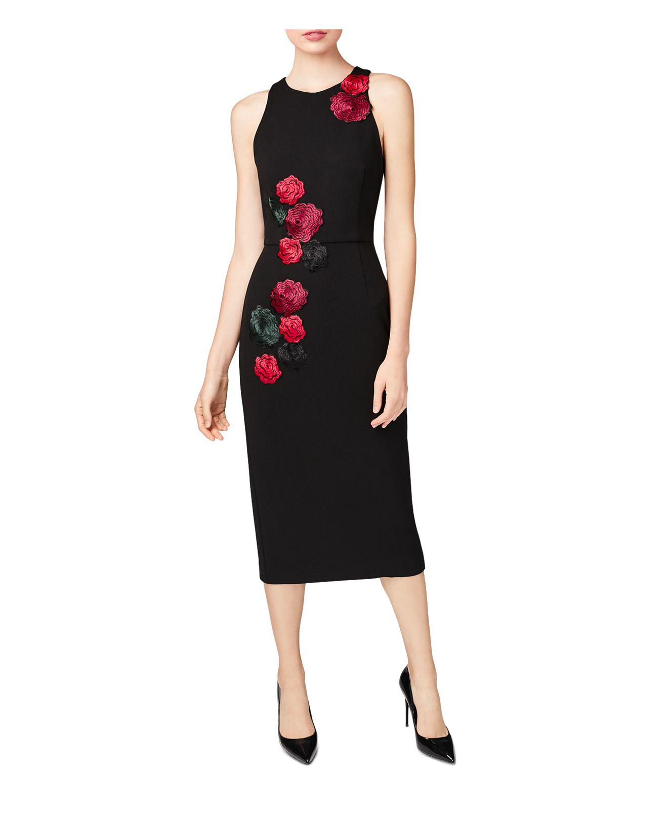 31bbec6c2a4 Betsey Johnson Embroidered Floral-appliqué Midi Dress in Black - Lyst