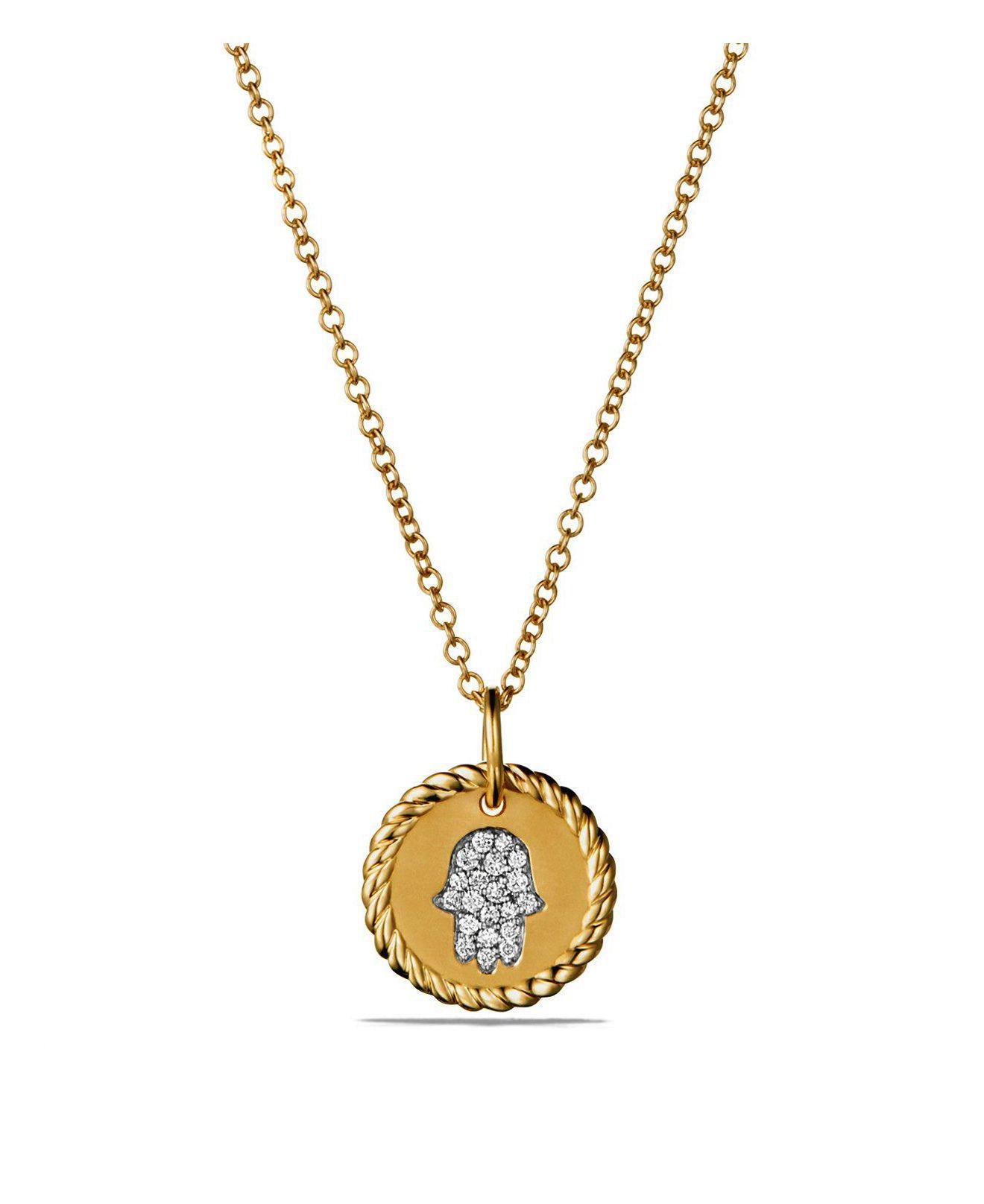 David Yurman 18kt yellow gold Cable Collectibles petit diamond pavé necklace - Metallic lcwPVy