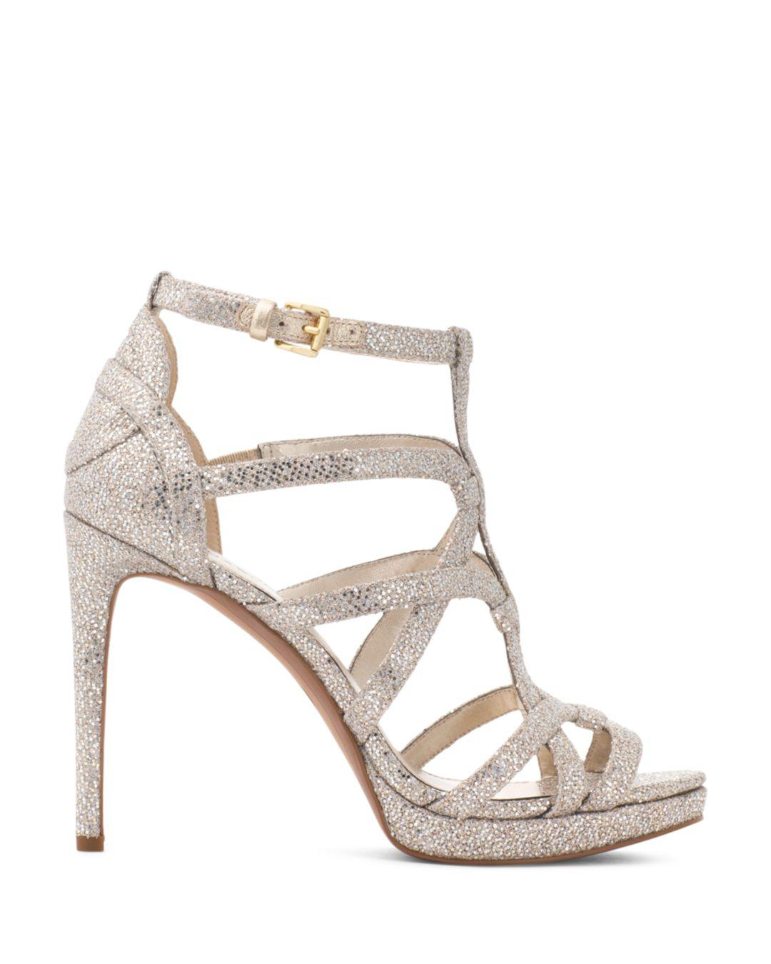 280c7770be1 MICHAEL Michael Kors Women s Sandra Strappy Leather Platform High-heel  Sandals in Metallic - Lyst