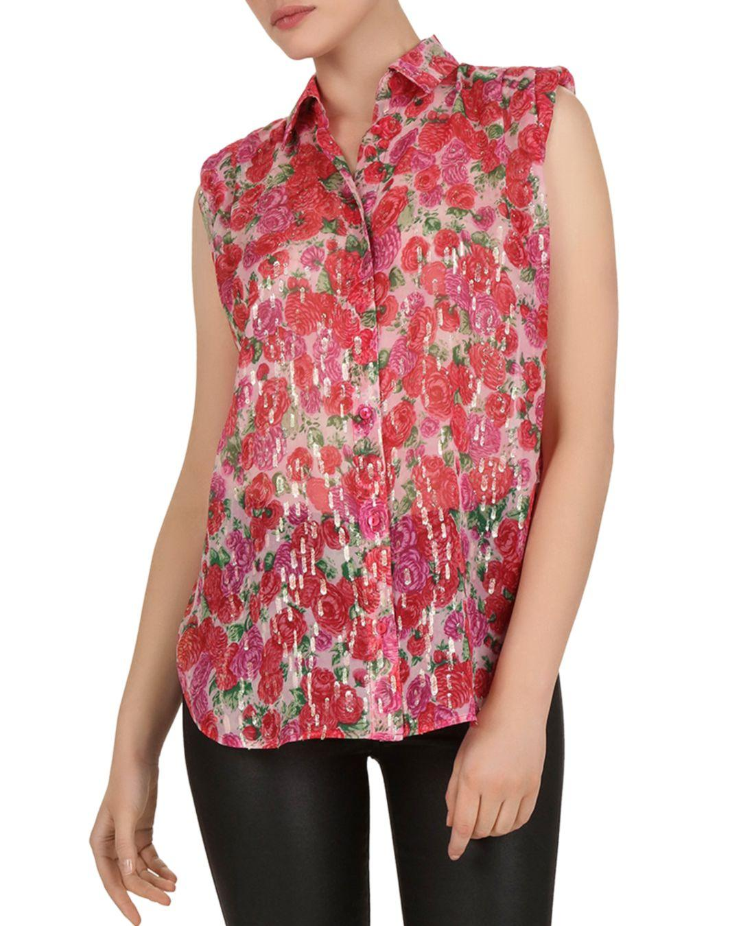 0a39d2870f0158 Lyst - The Kooples Sleeveless Cherry Blossom-printed Shirt in Pink