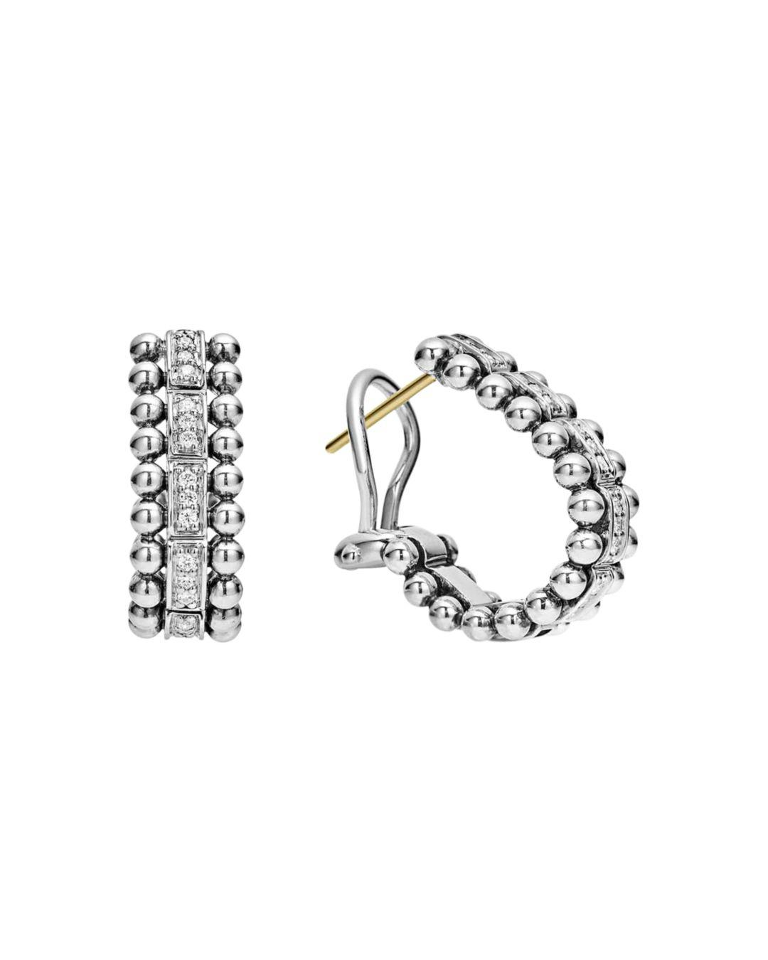 b3c22cbf0 Lagos. Women's Metallic Sterling Silver Caviar Spark Diamond Oval Hoop  Earrings