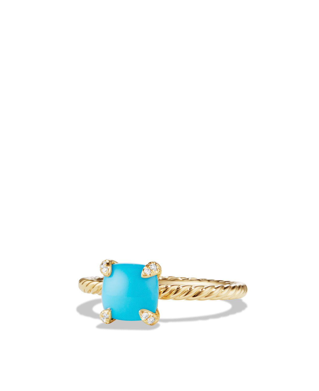 David Yurman 18kt yellow gold Châtelaine turquoise and diamond ring - Blue bSUMax
