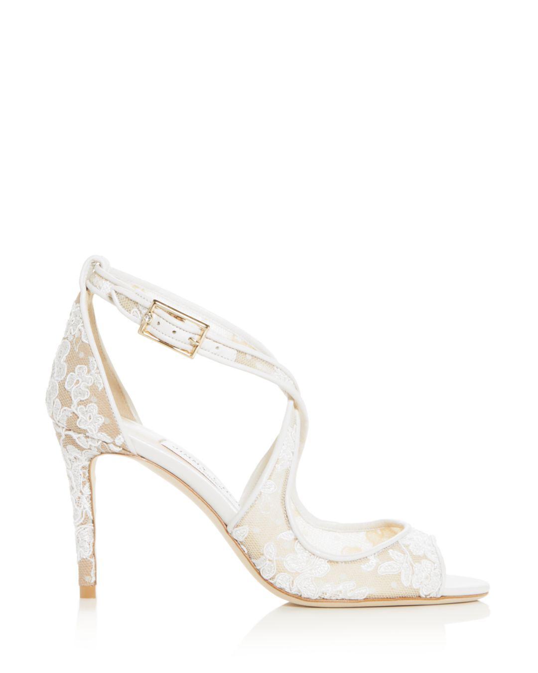 98afe5117894 Lyst - Jimmy Choo Women s Emily 85 Crisscross High-heel Sandals in White
