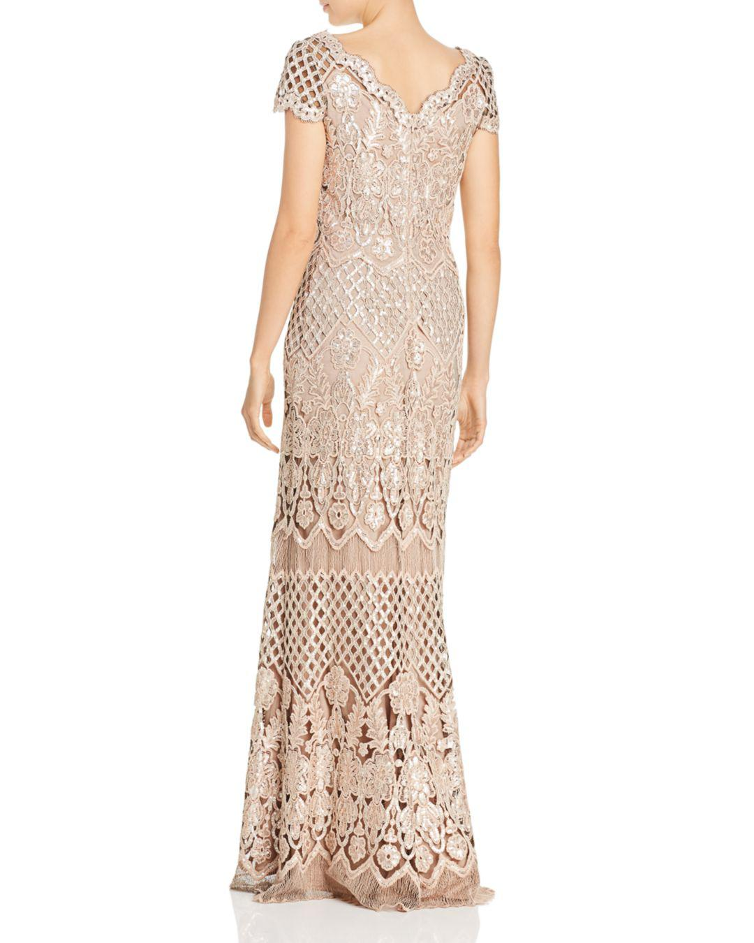 9d6e2dbf090b Lyst - Tadashi Shoji Embroidered Sequin Illusion Gown