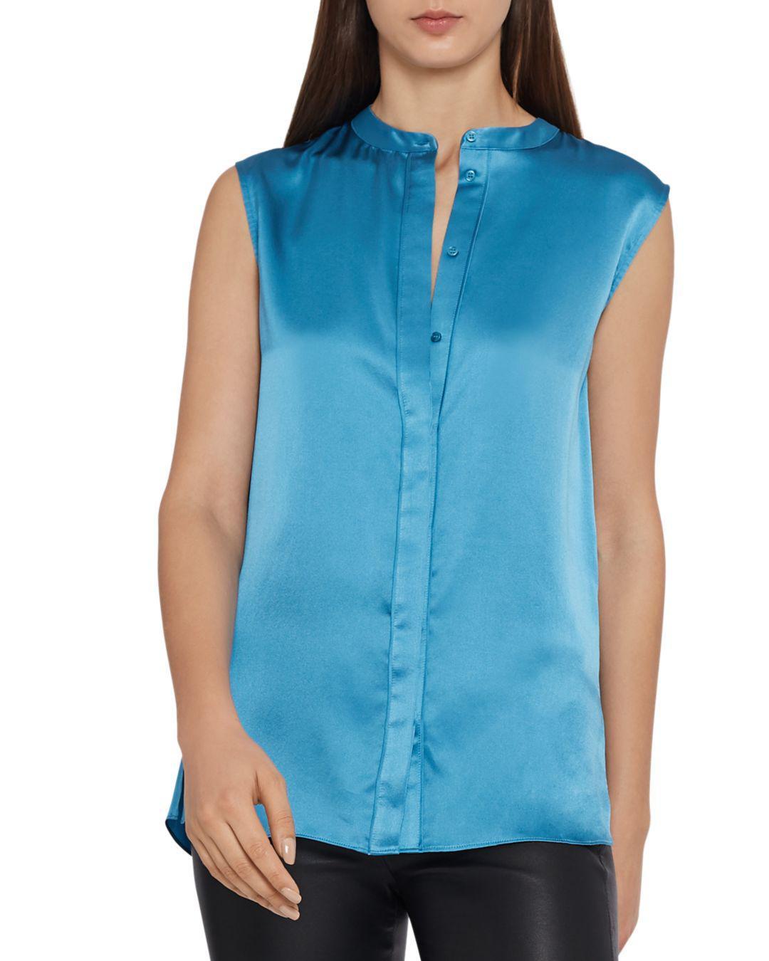 83751b970280ca Reiss Lila Sleeveless Silk Blouse in Blue - Lyst