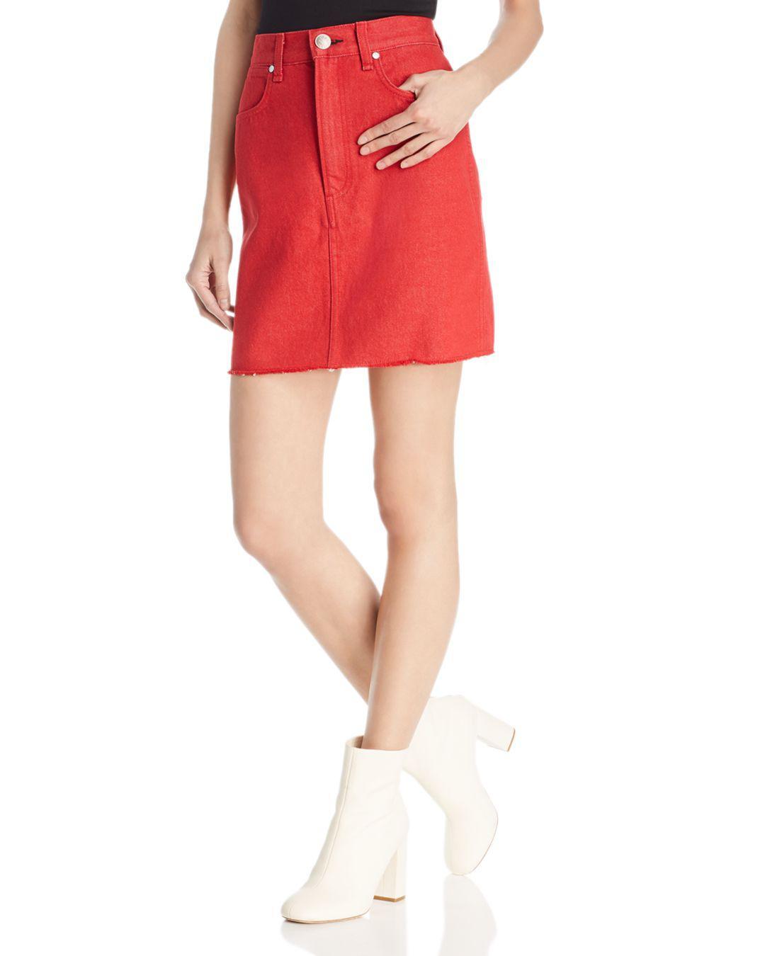 f4b17d7d45 Rag & Bone Moss Denim Skirt in Red - Lyst