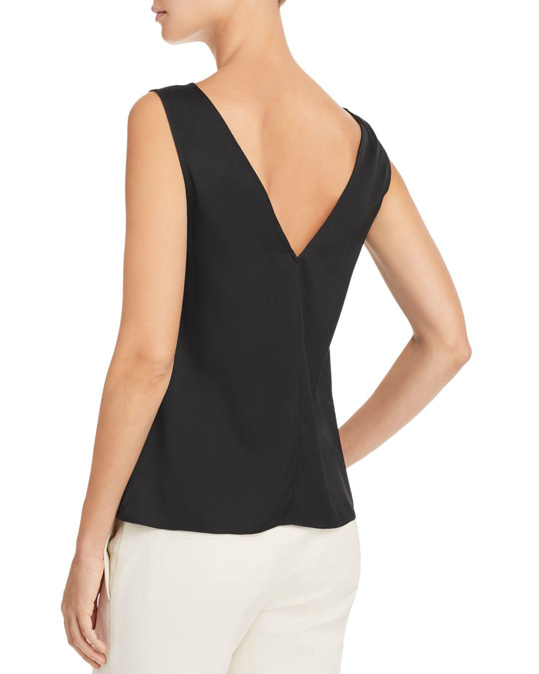 50288a5e1540a Lyst - Theory Stretch Silk Tank in Black