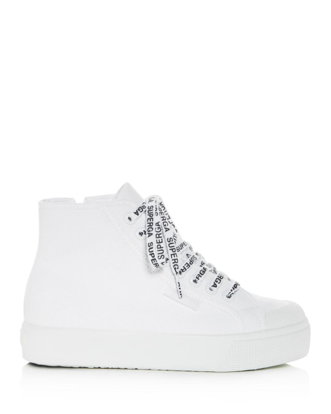 2b790ab5db47 Lyst - Superga Women s Cotu Classic High-top Platform Sneakers in White