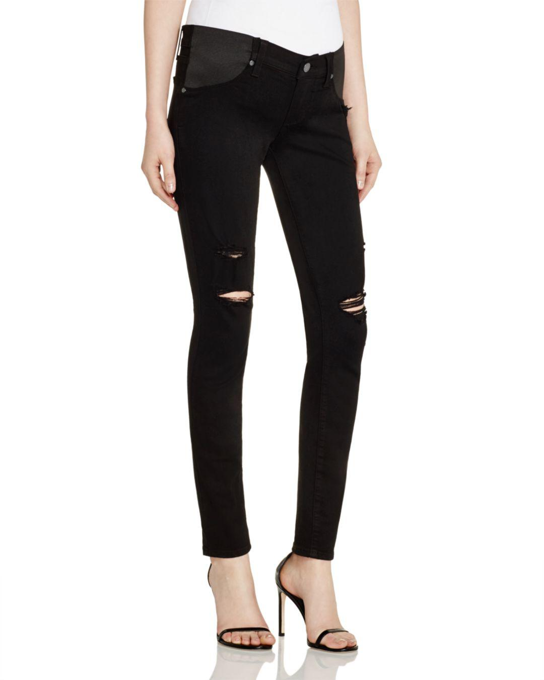 a50fd2f2564ba Lyst - PAIGE Denim Verdugo Skinny Maternity Jeans In Black Shadow ...