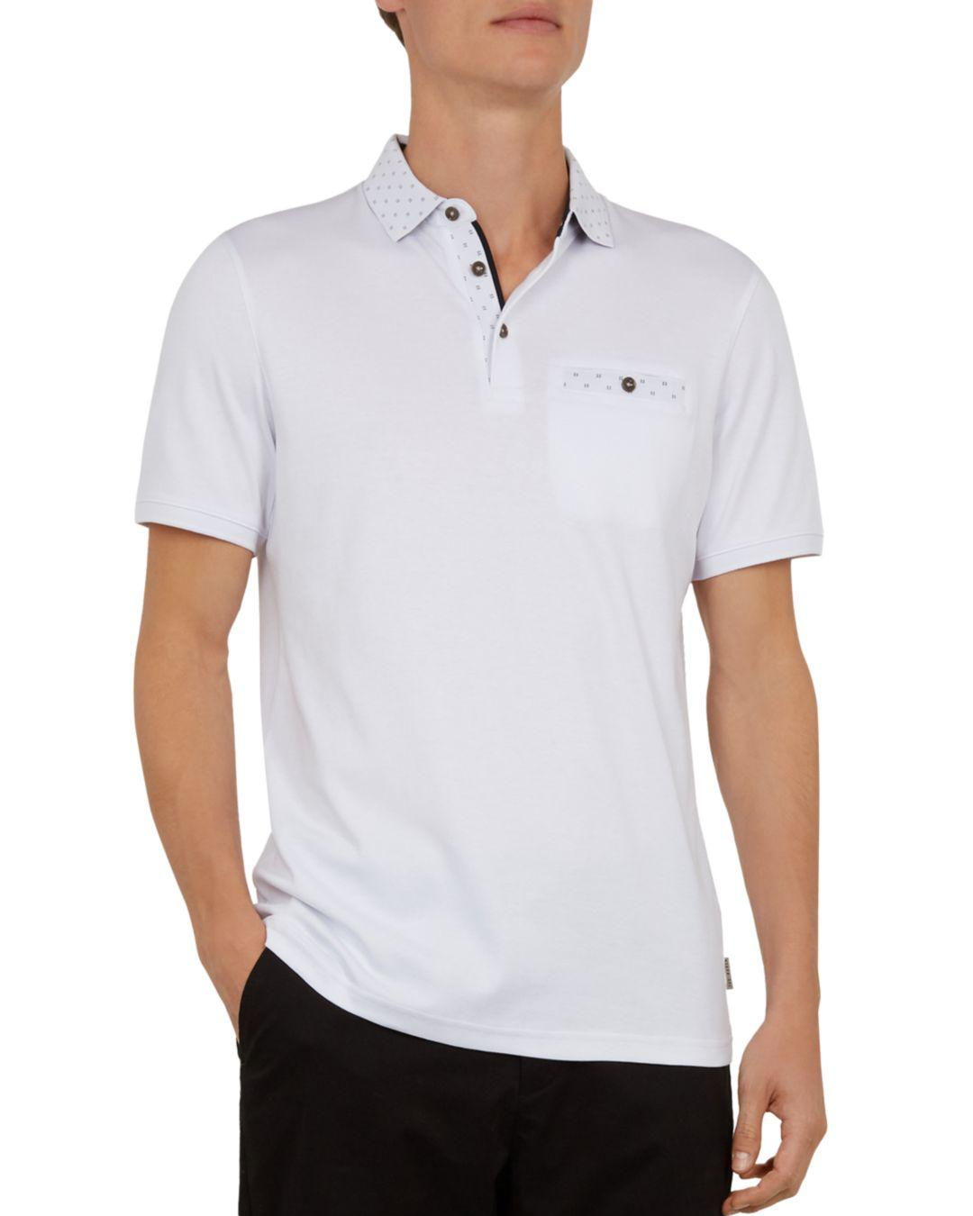 390fc62a Lyst - Ted Baker Critter Flat Knit Regular Fit Polo Shirt in White ...