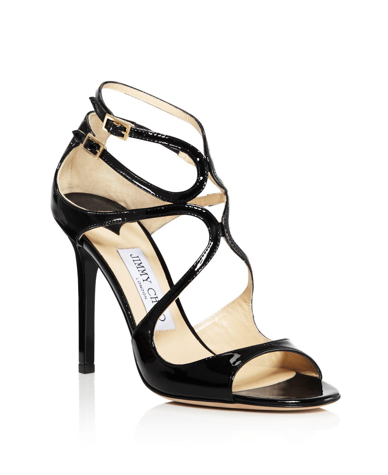 Jimmy choo Women's Lang 100 Crackled Metallic Leather High-Heel Sandals t2NaaQKhga