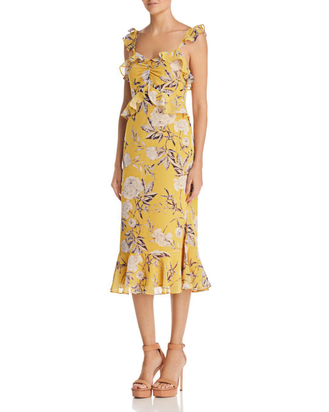 2bfee3e58f Lucy Paris Marissa Ruffled Floral Midi Dress in Yellow - Lyst