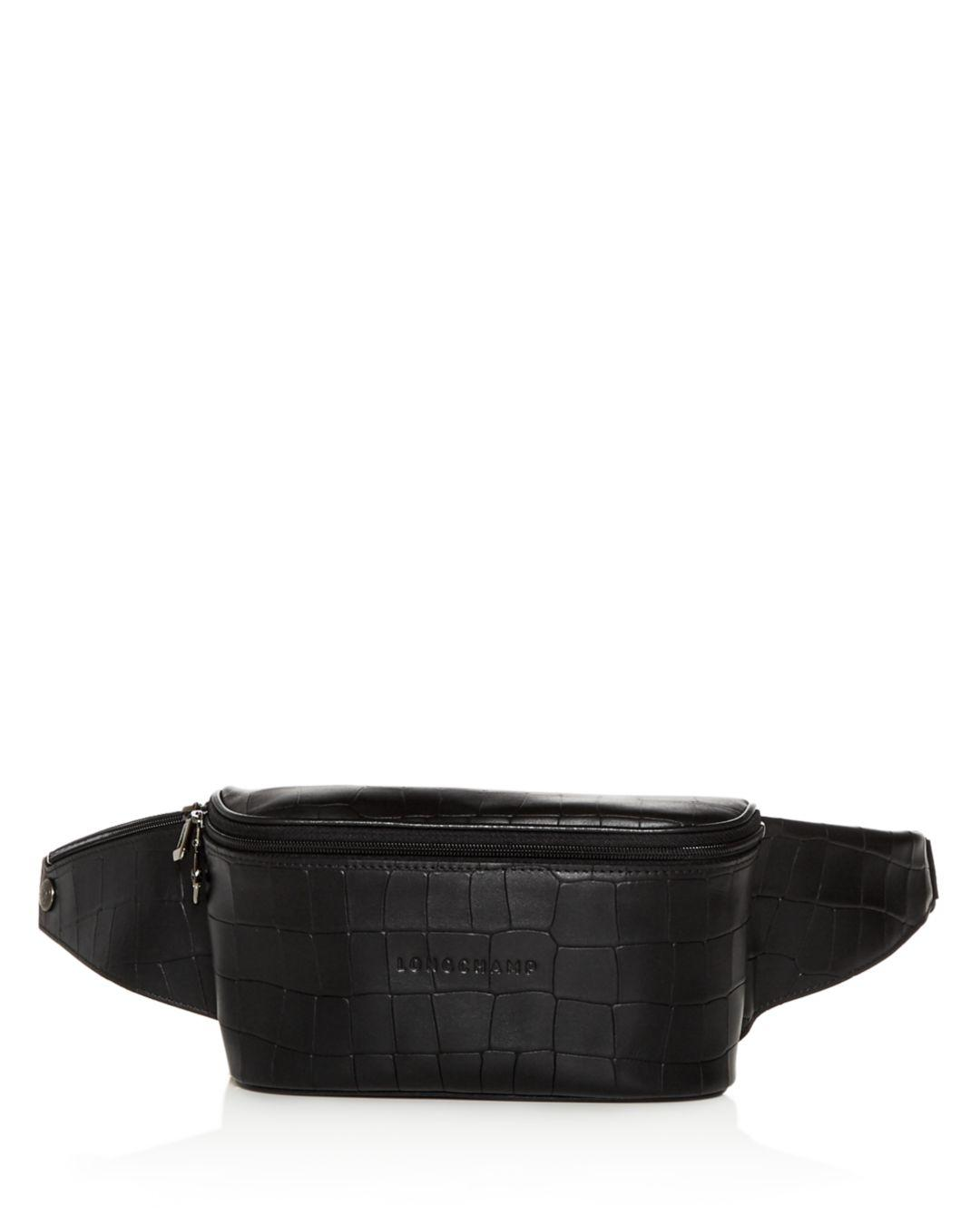 cd940cea3229 Longchamp Croc - Embossed Leather Belt Bag in Black - Save 6% - Lyst