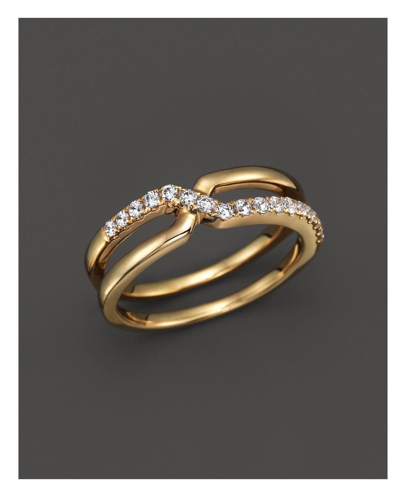 Lyst Bloomingdales Diamond Crossover Ring In 14k Yellow Gold 25