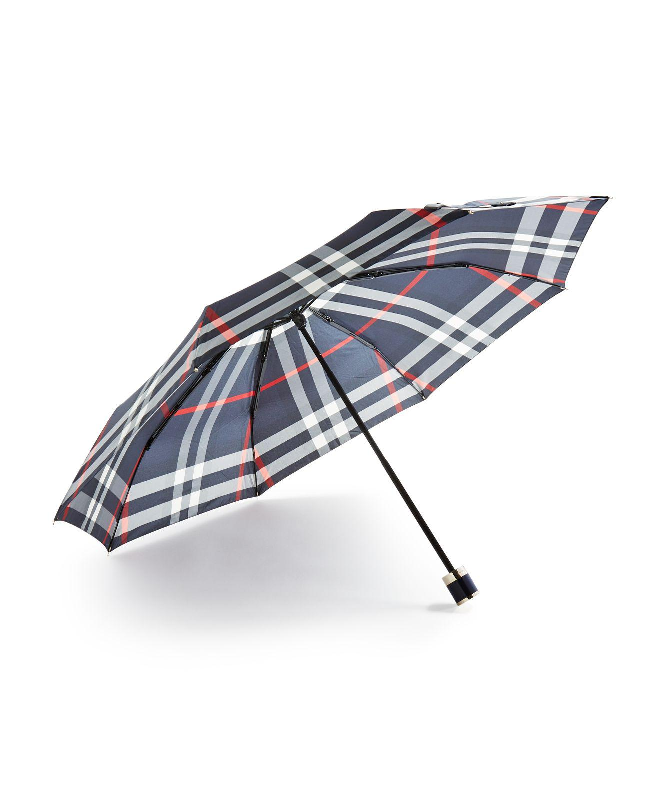 a5d7876a4d05 Lyst - Burberry Trafalgar Packable Check Umbrella in Blue