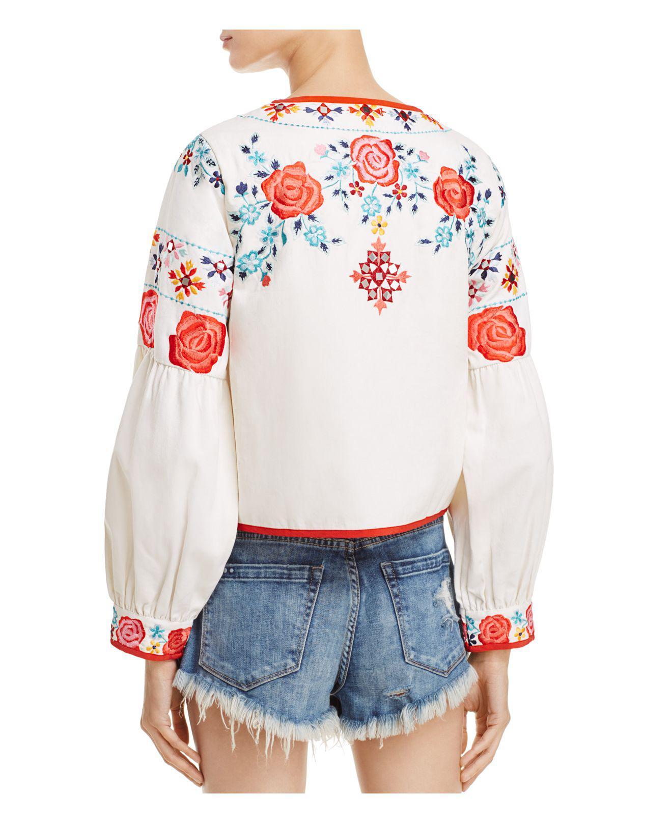 Lyst misa valentina embroidered jacket in white