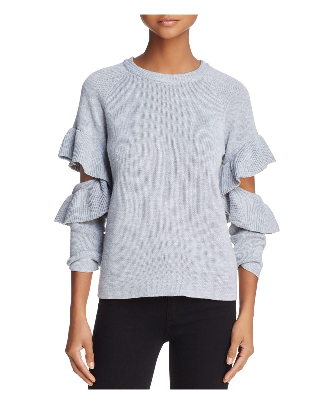 870d8068111755 Endless Rose Ruffled Cutout Sweater in Gray - Lyst