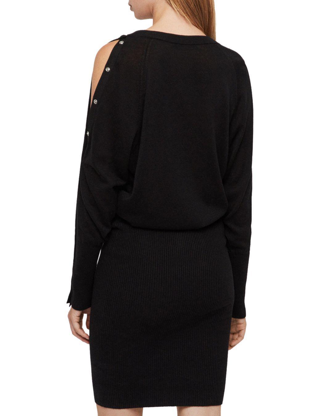 7f396f1ac3c AllSaints Suzie Snap-sleeve Sweater Dress in Black - Lyst