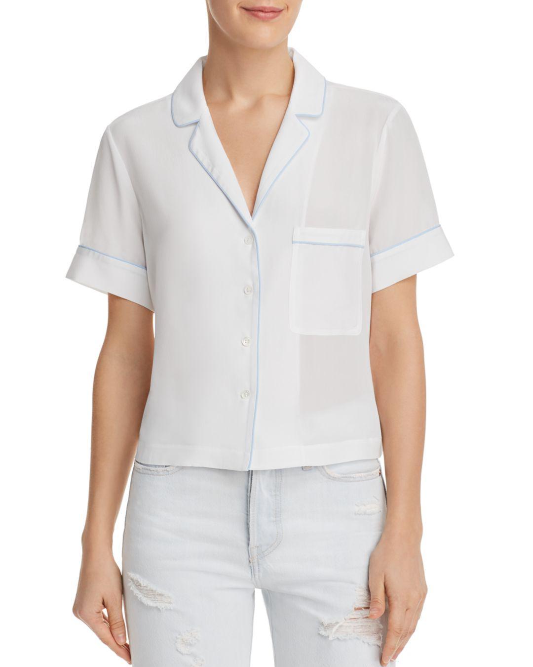 d598abdd1a5c Lyst - Frame Piped Silk Pajama Shirt - Save 62.76150627615063%