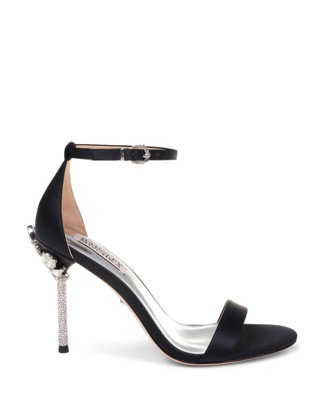 ee0927232fd Lyst - Badgley Mischka Women s Vicia Embellished Satin High-heel Sandals in  Black - Save 30%