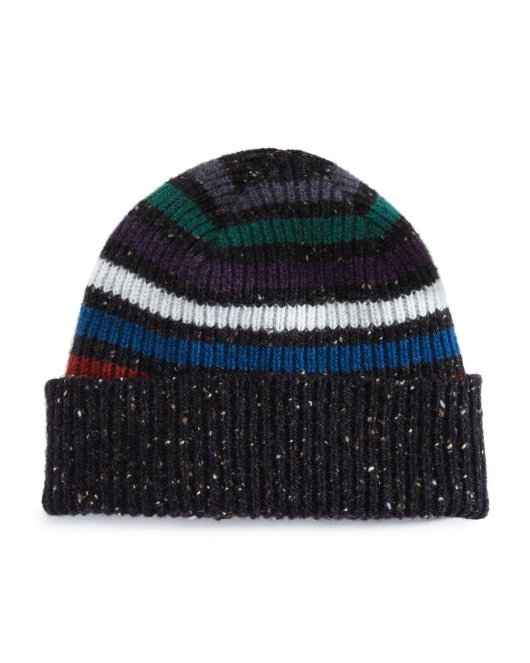 17dd07a0a7d Lyst - Paul Smith Donegal Striped Beanie in Black for Men