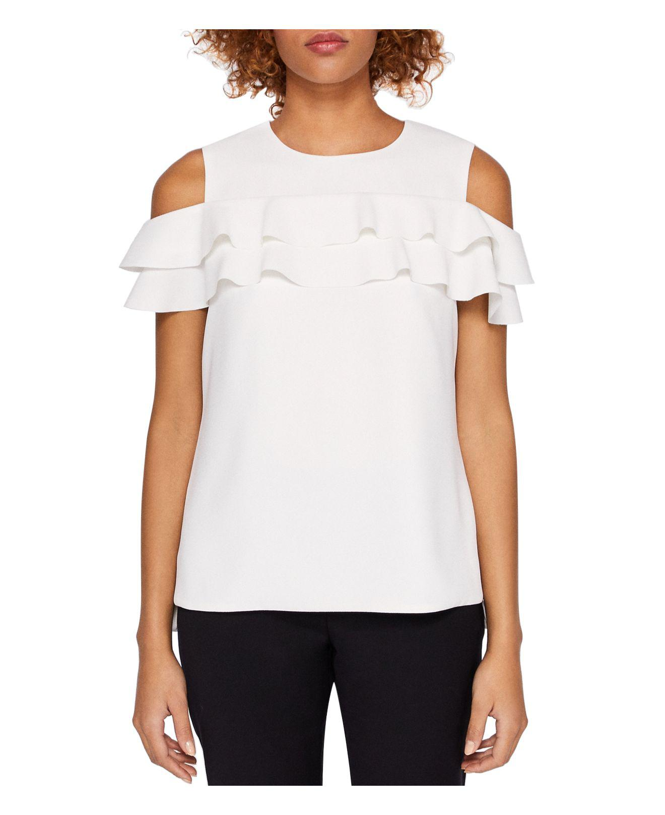 fe9958c8515525 Lyst - Ted Baker Hopee Cold-shoulder Ruffle Top in Natural